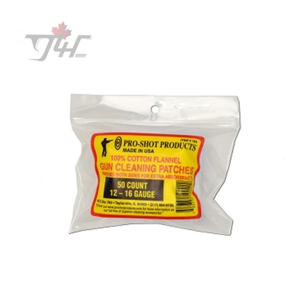 "Pro-Shot #104 3"" Cotton Gun Cleaning Patches 12-16 Gauge 50ct"