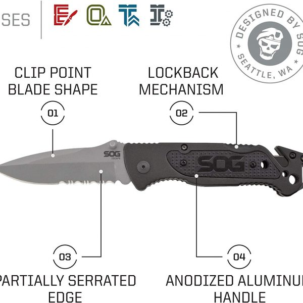 SOG FF24-CP Escape Bead Blasted Folding Knife